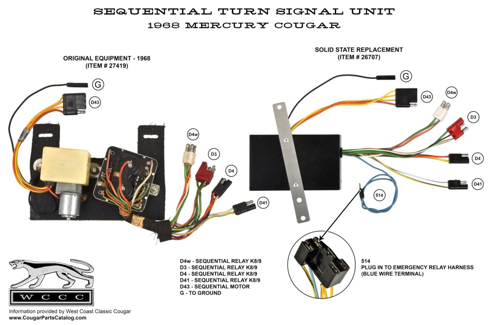 medium resolution of sequential turn signal box solid state repro 1968 mercury rh secure cougarpartscatalog com 1969 ford mustang 1969 cougar turn signal wiring diagram
