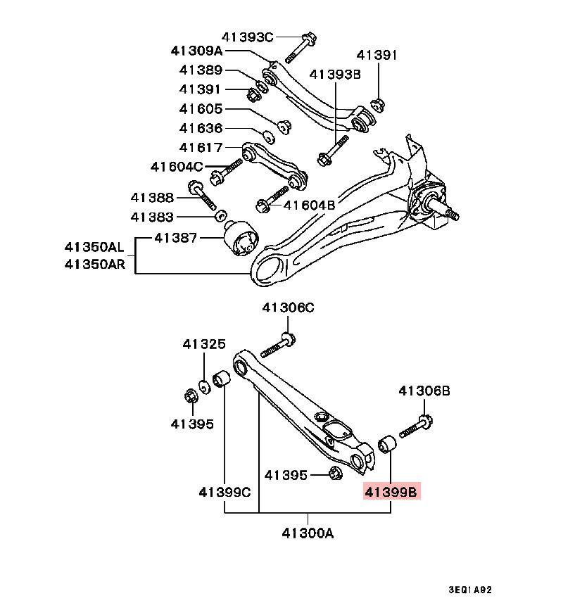 MITSUBISHI OEM 02-06 Lancer Lower Control Arm-Rear-Bushing