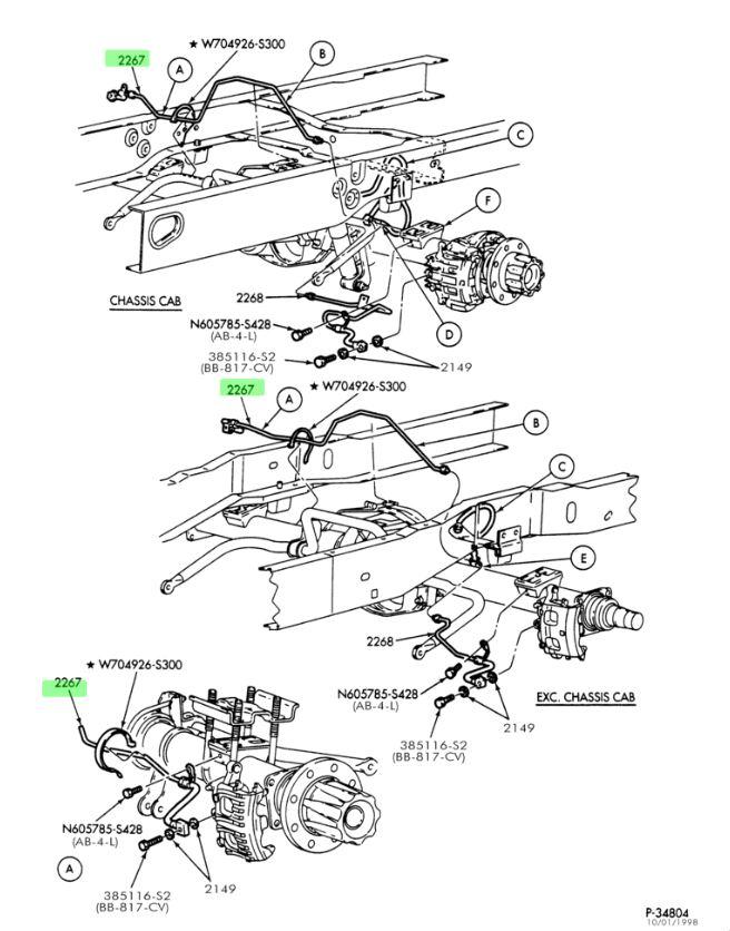 FORD OEM 99-04 F-350 Super Duty Brake-Rear-Brake Hose