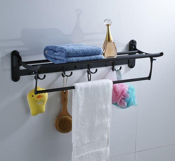 Foldable Bathroom Towel Bar Shelf With Hook Hangers