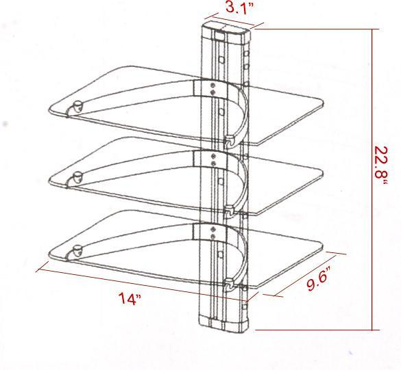 3 TIER GLASS SHELF WALL MOUNT UNDER TV CABLE BOX COMPONENT