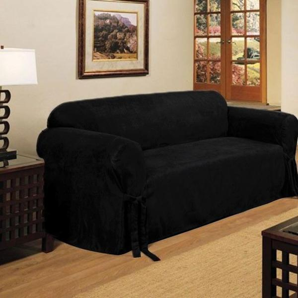 2 Micro Suede Black Soft Couch Loveseat Sofa Cover Pad