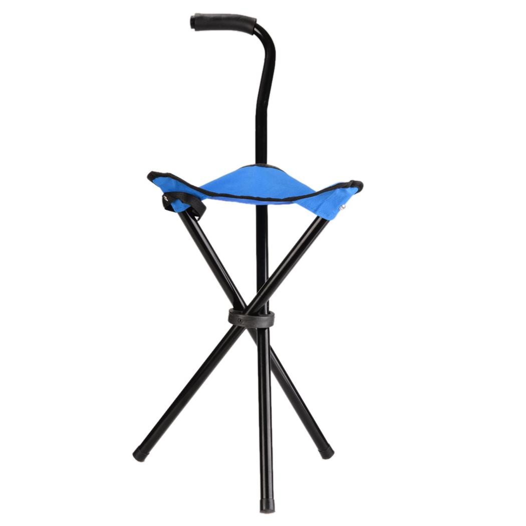 Walking Chair Folding Walking Stick Cane Soft Seat Chair Travel Camp