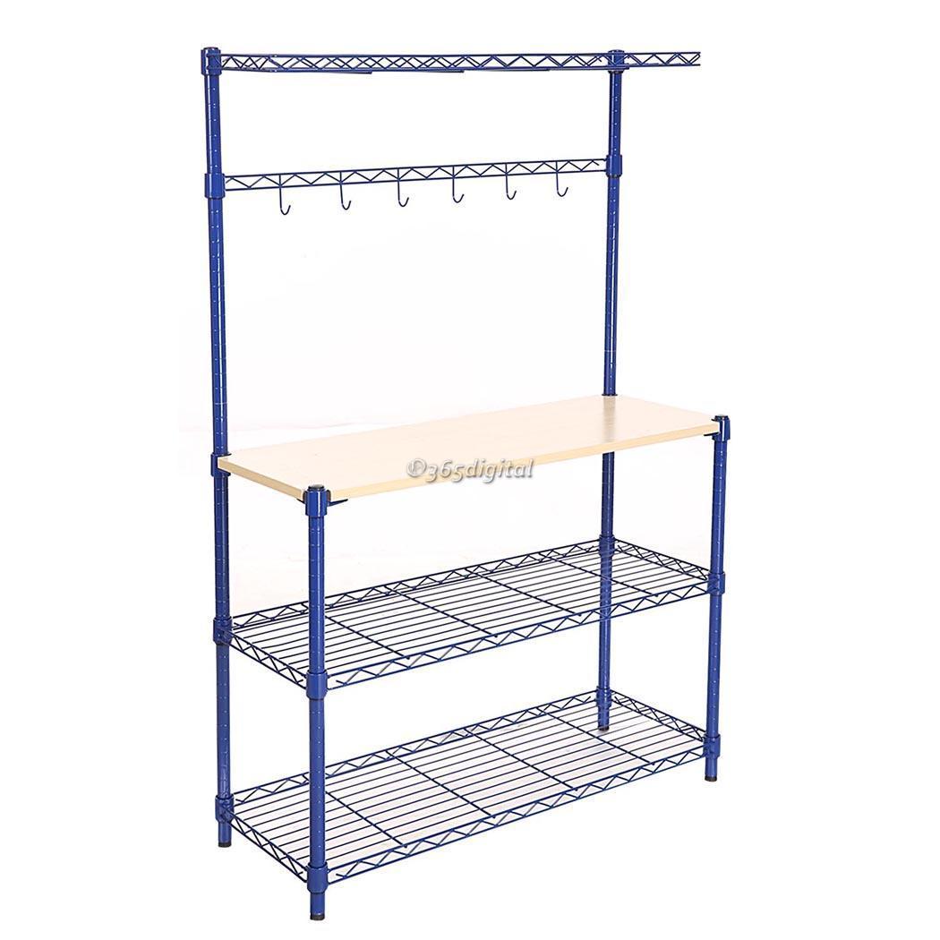 Modern Kitchen 4Tier Rack Wire Shelving Shelf Wood Board