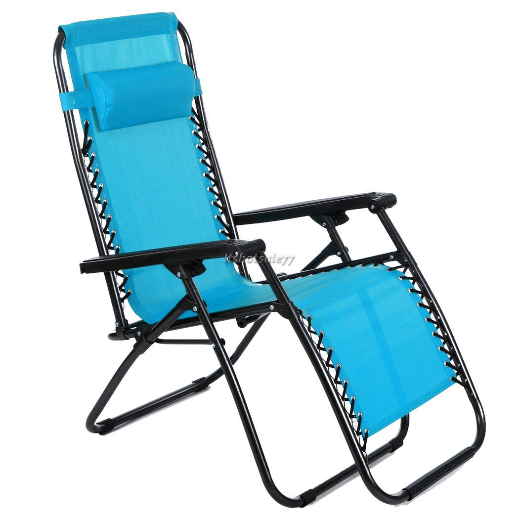 Reclining Camp Chair Hot Folding Reclining Lounge Portable Garden Beach Camping