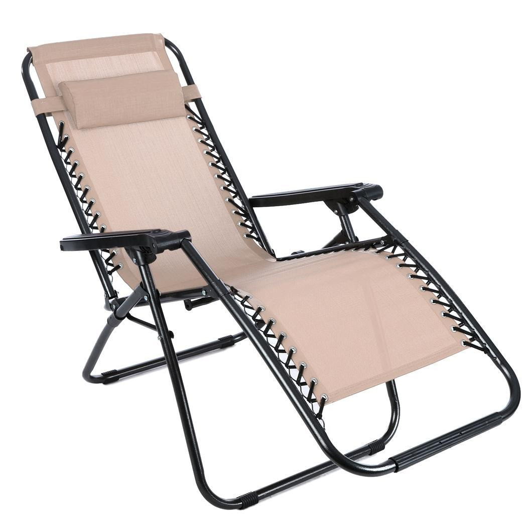 Beach Lounger Chair 4 Type Outdoor Zero Gravity Lounge Chair Patio Pool Yard