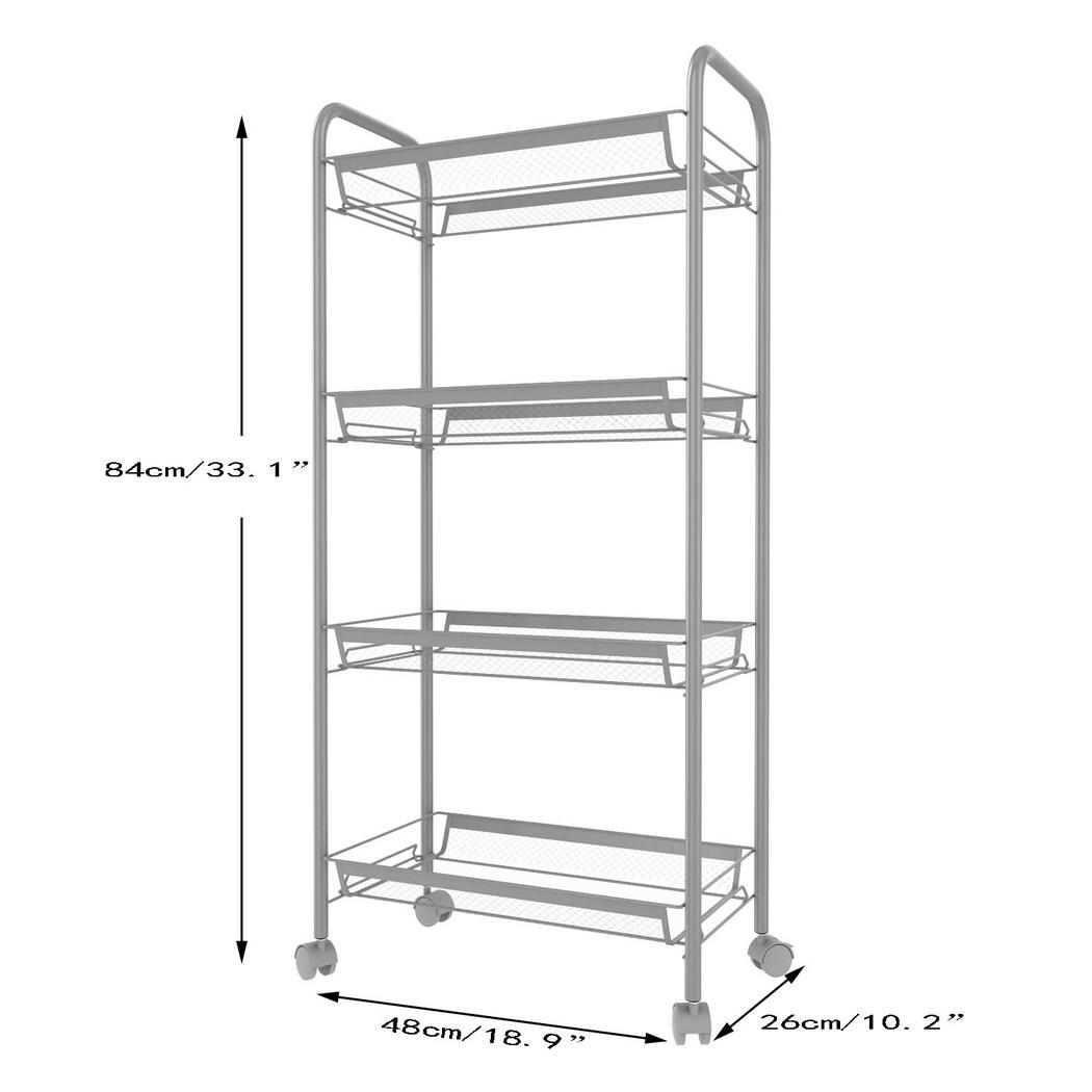 4 Tier White Metal Rolling Storage Shelving Rack With