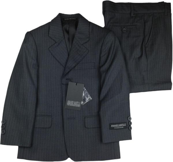 Armando Martillo Boys Charcoal Pinstripe 3 Piece Husky Suit - 605-pv2d