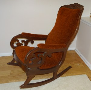 """Antique Early Victorian Mahogany Upholstered Rocking Chair """"Lincoln Rocker"""""""