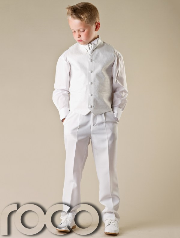 Baby Boys White Waistcoat Suit Wedding Pageboy Christening Communion Suits