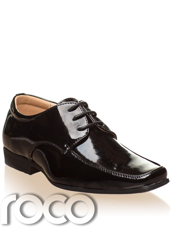 Boys Black Patent Shoes Formal Wedding Page Boy