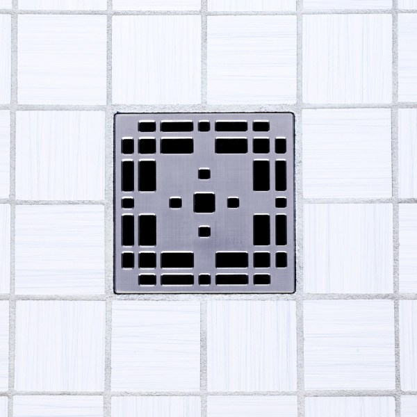 Ebbe E4801-BS - UNIQUE Drain Cover-PRAIRIE-Brushed Stainless - IC Tile, Edited - (1,200 x 1,200)