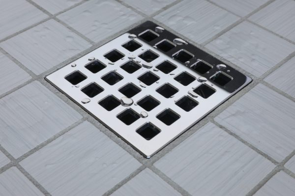 E4803-PS - Ebbe UNIQUE Drain Cover - QUADRA - Polished Stainless Steel - Shower Drain - aw