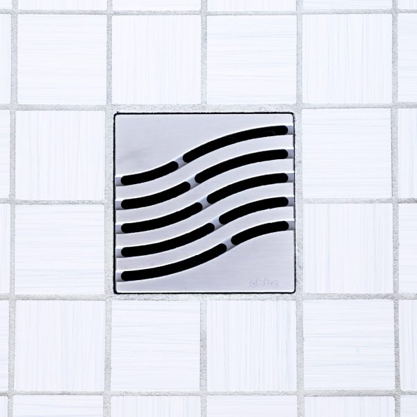 E4814-SS - Ebbe UNIQUE Drain Cover - TSUNAMI - Satin Stainless Steel - Shower Drain - tdd