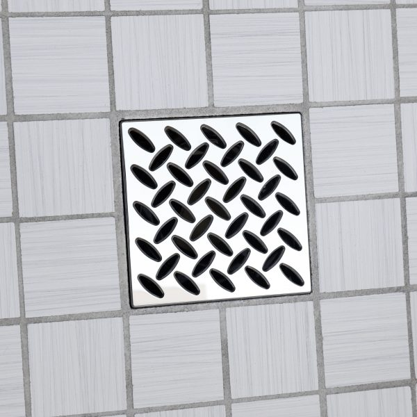 E4813-PS - Ebbe UNIQUE Drain Cover - DIAMOND - Polished Stainless Steel - Shower Drain - ad