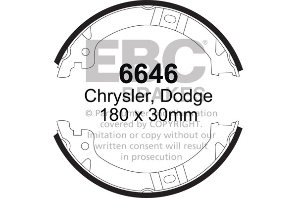 CHRYSLER (USA) Grand Voyager Handbrake Shoes 2001-2007