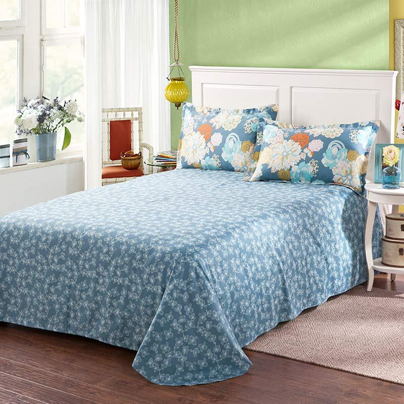 Amazing Flower Print Cotton Bedding Set In Blue  Ebeddingsets