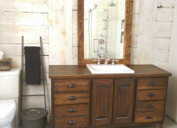 Salle De Bain Rustique Bois | Grand Miroir En Bois Rustique Au ...