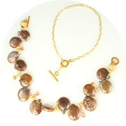 Bronze coin pearl necklace