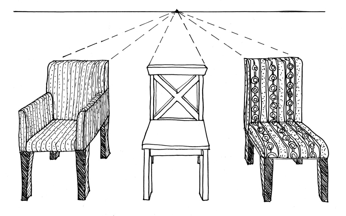 Drawing furniture in 1-Point Perspective