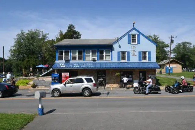 The White's Ferry Store and Grill is a local favorite for its hamburgers. You can see how high the water has been during the floods of 1972, 1985 and 1996 on the wall in between the three windows on the right.