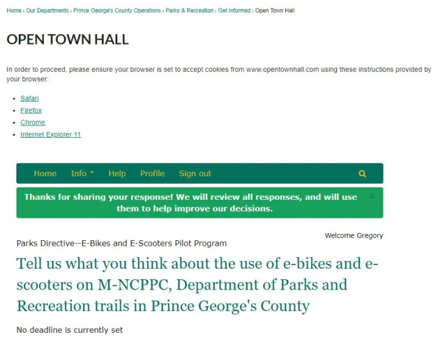 Screenshot of the E-bike Pilot program in Prince George's County Open Town Hall. Click here to leave your own comments.