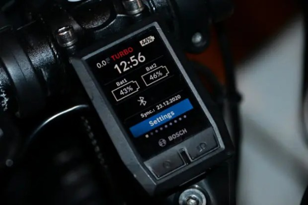 A photo of a bosch e-bike Kiox computer dispay showing the battery levels