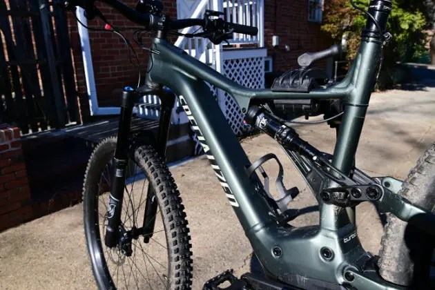 AN e-mountain bike in a bike repair stand e-bike Lovers