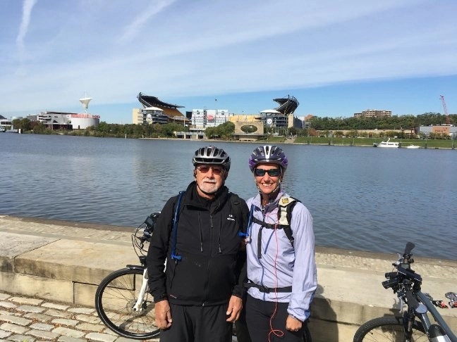 A couple of e-bikers at the beginning of the Great Allegheny Passage Trail in Pittsburgh, PA.