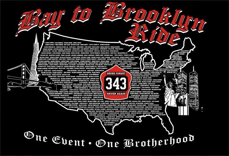 A logo of the Bay2brooklyn2021 Ride with the map of America in the background