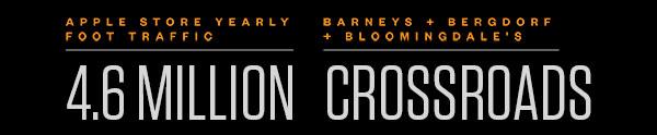 APPLE STORE YEARLY FOOT TRAFFIC - 4.6 MILLION | BARNEYS + BERGDORF + BLOOMINGDALE'S - CROSSROADS