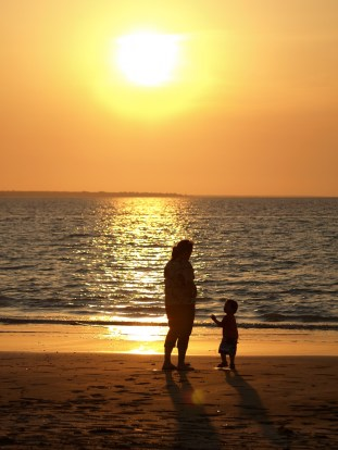 mother and child sunset