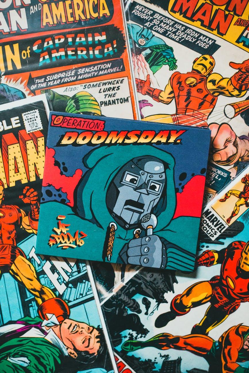 comic book on black textile