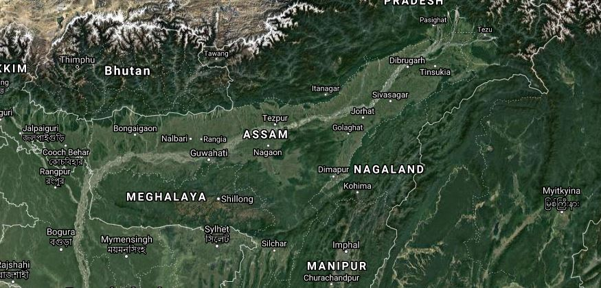 Map of Assam satellite view