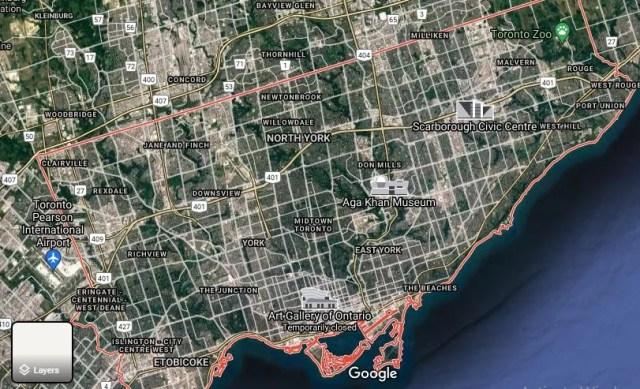 Satellite view of Toronto Map
