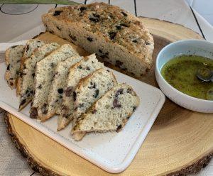 Sliced no knead olive skillet bread