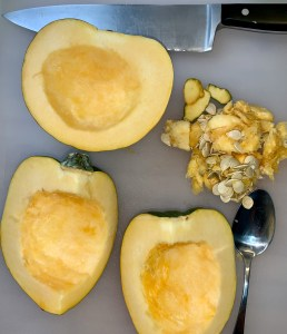 Cleaned acorn squash wedges