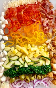 Colorful veg and pizza toppings