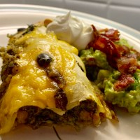 Green Enchiladas. Served w/ Bacon Guacamole! ~Yes, You Heard me, Bacon Guacamole!!!