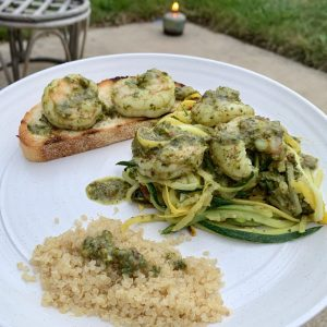 Homemade pesto on quinoa, garlic rubbed toast and zoodles!