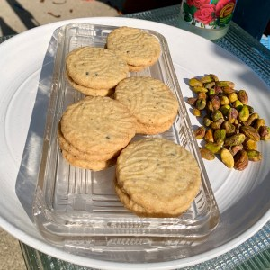 Depression Glass with Pistachio Rosewater Shortbreads with Black Sesame Seeds