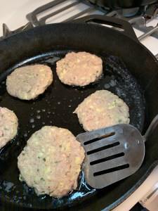Grans Tuna Cakes with a reproduction of her spatula