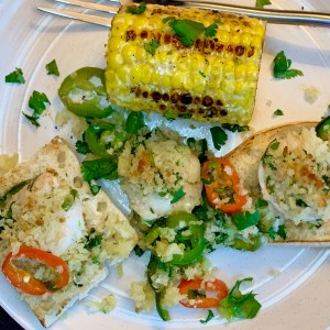 Cilantro lime shrimp with Hope's Rustic Corn