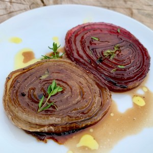 Roasted White Balsamic infused onions