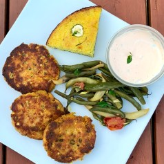 quick and easy salmon patties, made with four ingredients and leftover salmon