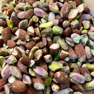 Roughly chopped salted pistachios and raw almonds