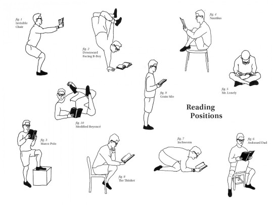Reading positions: 14 fabulous pictures and cartoons