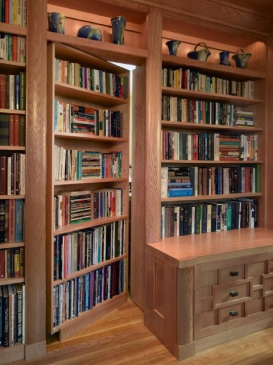 home library with secret door
