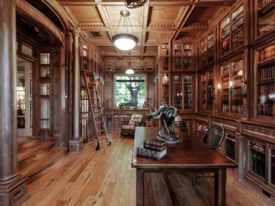 An amazing home library made of 10000 pieces of walnut