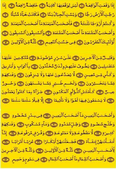 Surat Waqiah Pembuka Rezeki : surat, waqiah, pembuka, rezeki, Surat, Al-Waqi'ah:, Bahasa, Latin,, Indonesia, Bacaan